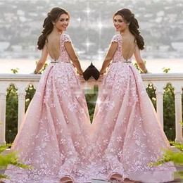 Barato Elie Saab Azul Mangas-Elie Saab Prom Dresses Pink Detachable Train Vestidos de noite Lace Appliques Sheer Jewel Neck Cap Sleeve Sleeve Backless Vestidos formais Custom Made
