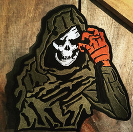 Bikers Back Patches Australia - COOLEST GOLDEN SKULL MOTORCYCLE COOL LARGE BACK PATCH ROCKER CLUB VEST OUTLAW BIKER MC PATCH FREE SHIPPING