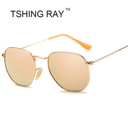 b053709e975 TSHING RAY 2017 Fashion Hexagonal Flat Lenses Sunglasses Women Men Brand  Designer Vintage Aviation Driving Fishing Sun Glasses