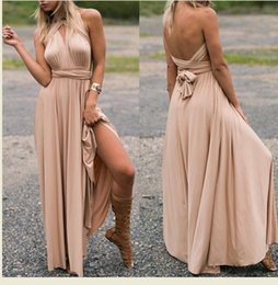 Robe Maxi Sans Manche Sexy Sans Dossier Pas Cher-Sexy Strap Satin Backless Femmes Maxi Robe Slim Deep V Neck Sans manches Bandage Split Vestidos Summer Beach Party Robes longues