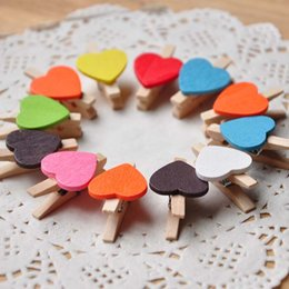 Discount mini heart paper clips - 50pcs set Love multicolour folder wedding small wooden clip mini wooden clip 10 color Heart Shape Wooden Paper Note Memo