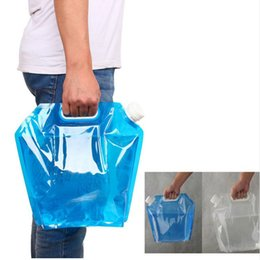 water bottle bags NZ - Wholesale 100pcs lot Outdoor 5L camping traveling Foldable Storage Water Bag Hand Lifting Hiking Survival Bottle F20171725