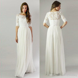 7d51433e01 Bridal cover up chiffon online shopping - Modest Sheer Half Long Sleeves  Wedding Bridesmaid Dresses Jewel