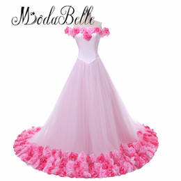 Autumn Colored Wedding Dresses UK - Princess Arabic Flowers Colored Pink Wedding Dress Puffy Ball Gown Bridal Dresses 2018 Vintage Hochzeit Kleid Brazil Retail