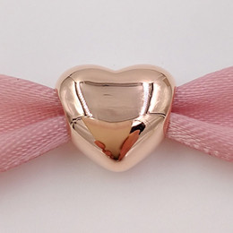 Valentine heart jewelry online shopping - Valentines Day Sterling Silver Beads Rose Gold Plated Big Heart Charm Fits European Pandora Style Jewelry Bracelets Necklace