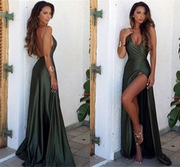 Barato Festa Do Verão Do Vestido Elegante-2017 Simple Hunter Front Split Vestidos de noite elegante Sexy Sheath V Neck Backless Long Vestidos de baile Summer Party Gown BA6335