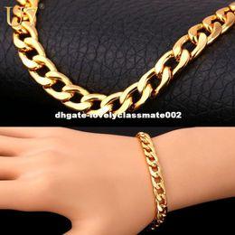 Cuban Linked Chain Canada - U7 Bracelet Men Jewelry Wholesale Trendy Gold Plated 22 CM 8 MM Thick Cuban Link Chain Bracelets H385