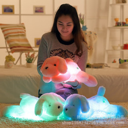 children projection lighting Canada - Wholesale- Kawaii Teddy Dog Luminous Soft Plush Toys 50cm Colorful Night Light Led Lovely Dog Stuffed and Plush Toys Children Kids Gift