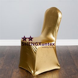 gold spandex banquet chair covers UK - Gold \ Silver Coated Bronzing Banquet Spandex Chair Cover For Wedding