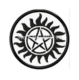 "wholesale embroidered jackets Canada - 3"" Supernatural Anti-Possession Tattoo MC JACKET BACK EMBROIDERED PATCH EMBLEM Biker Vest punk rockabilly iron on patch"
