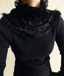 Barato Lace Rifled Jumpers-Atacado - Rabbit cabelo laço patchwork ruffled turtleneck suéter 2016 outono inverno manga comprida malha pullovers senhoras jumpers puxar femme