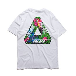 Barato Branco Do Hip-hop Camiseta-Palace T shirt Homens High Quality Palace Skateboards T-Shirts Hip Hop White 100% Algodão Summer Style Short Sleeve Causal Tee