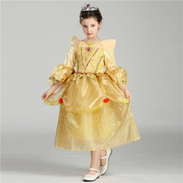 wholesale aurora princess dresses Canada - Princess Dress Girls Long Hair Beauty Sleeping Cute Aurora Flare Sleeve Dress For Birthday Party Princess Costume