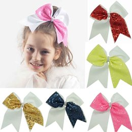 Style D'arc De Cheveux Pour Enfants Pas Cher-12 styles à la main à la soie Bling Cheer Bows for Girl Enfants Kids Boutique Sequin Hair Bow with Elastic