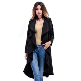 Barato Casacos De Inverno Bege Para Mulheres-New Autumn Winter Fashion Casual Casaco de trincheira feminina Long Outerwear Loose Clothes For Lady Good Quality Solid Black Beige Plus Size