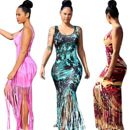 Débardeurs En Racerback En Gros Femmes Pas Cher-Racerback Hawaiian Beach Dresses sans manches Débardeur Tassels Long Maxi Dress For Women (4 couleurs S-XXL) Vente en gros Cheap DHL Fast Shipping