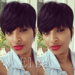 $enCountryForm.capitalKeyWord NZ - Peruvian Virgin Cut Hair Wig Celebrity Wig Hot Sale Human Hair Wigs Straight Short Cut Pixie Ladies Wig for Black Women