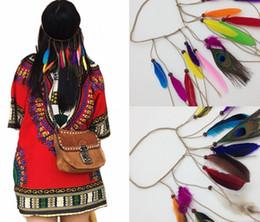 $enCountryForm.capitalKeyWord NZ - Fashion Bohemia style Women girls peacock feather headband hippie hair accessories women Indian headdress headwear braid hair band Head Rope