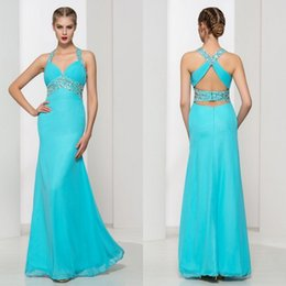 Robes De Concours Prix Bas Pas Cher-New Design Mermaid V Neck Blue Chiffon Backless Robes de bal Beaded Crystal Low Price Evening Women Pageant Robes sans manches 2017