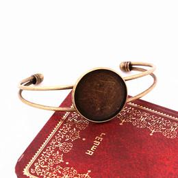 Round Copper Trays UK - Sweet Bell Min order 3pcs 25mm Round Bangle Bracelet Blank Tray Cabochon Cameo Base bezel Setting Accessories SZ1002