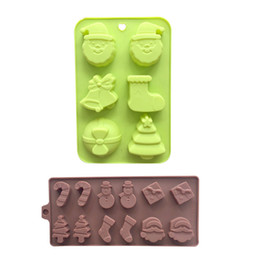 silicone trays moulds Australia - 2pc set Santa Clause Christmas Theme Silicone Soap Baking Tray Ice Mold Soap Mould, Bakeware Pastry Bread Cake Moulds Kitchen DIY Tools