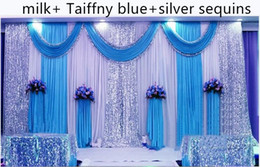 Discount backdrop swags - 3m*6m wedding backdrop swag Party Curtain Celebration Stage Performance Background Drape With Beads Sequins Edge 5 color