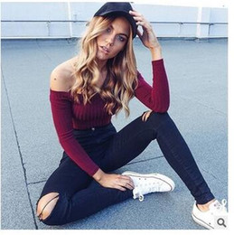 1d33168458155e Wholesale New Fashion Women tops Autumn Tee Long Sleeve Slash Neck Off The  Shoulder Sexy Crop Top Knitted T Shirt Free Shipping
