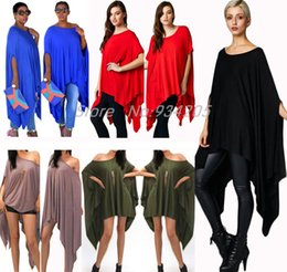 Barato Tops Assimétricos Para Mulheres-Wholesale-New 2016 Womens T Shirts Sexy Oversized Asymmetric Tunica Poncho Cape Casual Top para Mulheres Batwing Sleeve irregular Loose t-shirt
