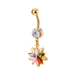 Yellow Flower Jewelry NZ - Fashion Charm 18K Yellow Gold Plated Crystal Flower Pendant Belly Button Navel Rings Sexy Women Body Piercing Jewelry
