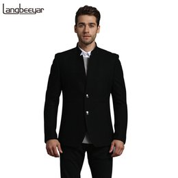 Chaqueta De Lana De Alta Moda Baratos-Venta al por mayor de alta calidad de nueva marca Brand-Clothing Wool Jacket Hombres Casual Casual Breasted Wool Coat Hombres Collar de mandarín Business Men's Jacket