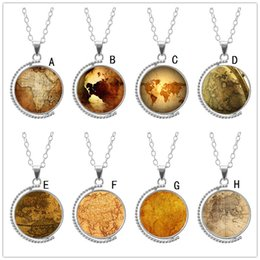 $enCountryForm.capitalKeyWord Canada - New Time Gem Cabochon Rotate Globe Map Necklace Vintage Brown Paper Color Glass Pendant Nice Jewelry Accessary Gift for Women Girl