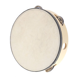"""drum percussion instrument 2019 - Wholesale-8"""" Hand Held Tambourine Drum Bell Birch Metal Jingles Percussion Musical Educational Toy Instrument for K"""