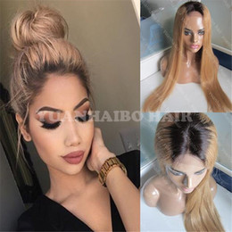$enCountryForm.capitalKeyWord Australia - Hot Selling 1bT27 silky straight honey blonde indian hair dark roots ombre full lace wig free shipping