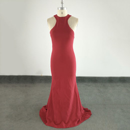 sexy porm dresses NZ - Elegant Long Porm Dresses Halter Formal Prom gowns Sexy Open Back Burdundy Real Sample Carept Mermaid Party Dress