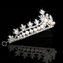girls silver hair accessories Canada - Bride Crown Hair Jewelry Pearl Swan Crown Wedding Bridal Rhinestone Crown Girl Tiara Accessories Silver Cheap