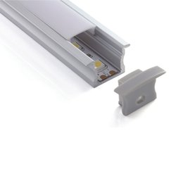 led linear tube UK - 100 X 1M sets lot Linear flange aluminum profile led and T type extrusion channel for flooring or recessed wall lamps