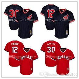 ab1c982fa ... Jersey Mens Cleveland Indians Joe Carter 30 Mitchell Ness Navy 1986  Authentic Cooperstown Collection Mesh Batting Practice ...