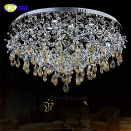 crystal butterfly decor Canada - FUMAT K9 Crystal Chandelier Ceiling Modern Crystal Lightings Living Room Round LED Lamp Home Decor Butterfly Crystal Chandliers
