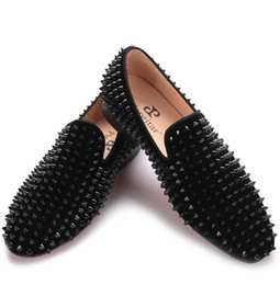Chinese  2017 new Black velvet print Black rivet men handmade loafers Fashion Party Banquet men smoking slippers male's flats manufacturers