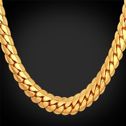 $enCountryForm.capitalKeyWord NZ - 18K Real Gold Plated Necklace With 18K Stamp Men Jewelry 18in-32in Snake Chain Necklace For Men Yellow Gold Plated Chains