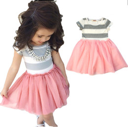 Short Sleeve grey dreSS lace online shopping - New Summer Girl Baby Children Cotton Short Sleeve Striped Panelled Tutu Dress Princess Toddlers Grey Tops Pink Tutu Dresses Skirts