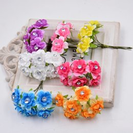 discount wedding decorations diamond pearls wholesale 6pcs 3cm pearl diamond stamen artificial flower bouquet for