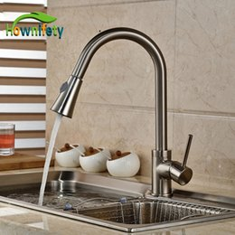 Pull Out Handle Australia - Wholesale- Brushed Nickel Pull Out Faucet Spout Swivel Kitchen Sink Mixer Tap Single Handle Deck Mount
