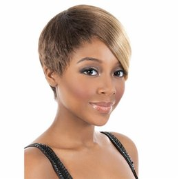 Chinese  Short Bob Wig Cheap Mix Brown Blonde Synthetic Hair Wigs Side Bang Wig for Women Synthetic Wigs manufacturers
