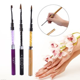 Barato Escova De Unha Acrílica 3d-Atacado - 1 Pcs 3Colors Nail Brush Double Ended Rhinestone Acrylic Handle UV Gel Builder 3D Carving Design Tool vendas quentes