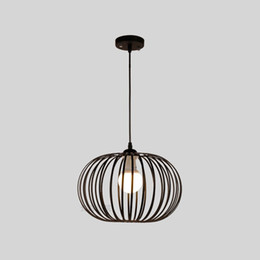 metal balcony UK - Nordic Black Metal Round Pumpkin Dining Room Pendant Lamp Bar Counter Pendant Lights Balcony Corridor Hallway Hanging Lighting Fixtures