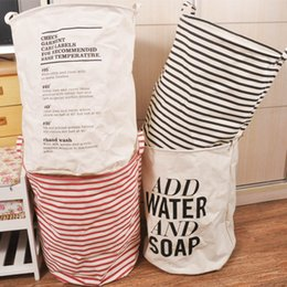 $enCountryForm.capitalKeyWord Canada - 13xp ZAKKA Canvas Linen Laundry Hamper Bucket Cloth Ins Storage Baskets Organizer Polka Dot Stripe Dirty Clothes Toys Bag For Kids Room R