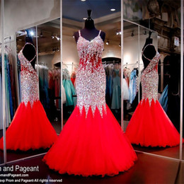 Bretelles En Strass En Robe Rouge Pas Cher-Red Mermaid Long Robes de bal Backless Strapless Straps Ruffled Tulle Rhinestone Sexy 2017 Femmes Pageant Robe de soirée Custom Made Plus Size