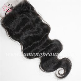 Closure Human Hair Wigs UK - 100% hand made body wave 4*4 inch top hairpiece lace closure 100% human hair on sale