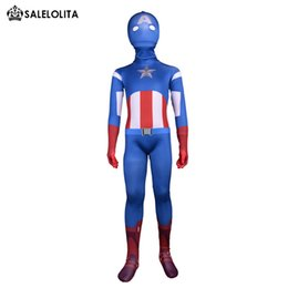 Wholesale 2017 Children Captain America Costumes Kids Blue Lycra Spandex Zentai Suit Child Captain America Halloween Bodysuit Costumes
